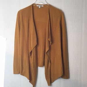 Ellen Tracy mustard open front cardigan sweater S